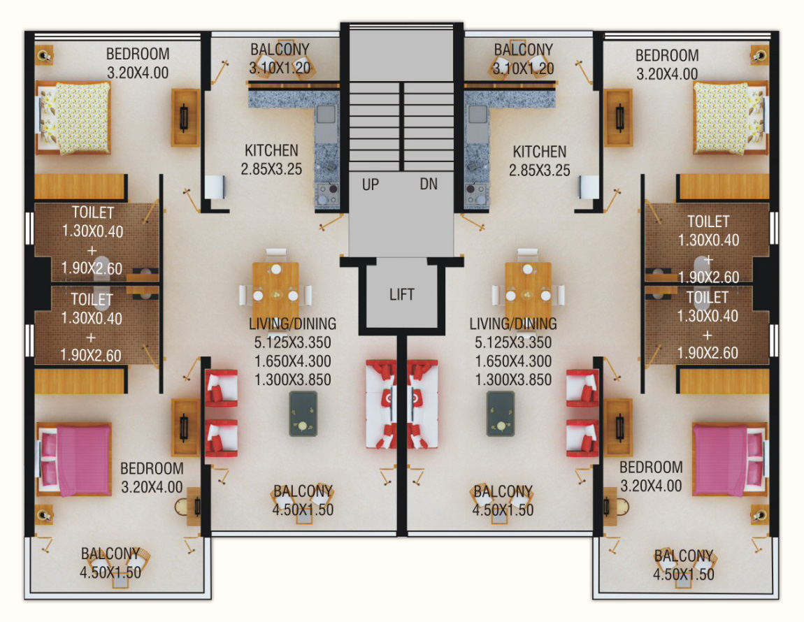 Beach apartments goa floorplans world class apartments for 2 bedroom layout design